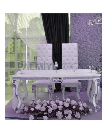 Lukens Leg Carving Table Bride Groom Chair