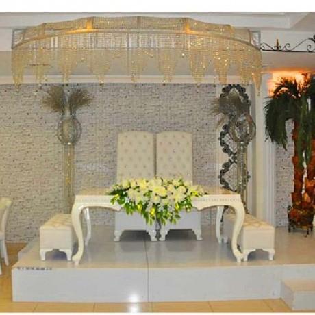Nikah Salonu Beyaz Döşemeli Beyaz Boyalı Masası Sandalyesi - nkm18