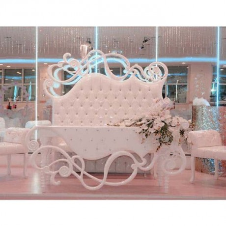 Carving Table White Fabric Upholstered Wedding Set with Booths - nkm26