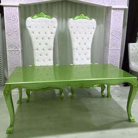 Yeşil Boyalı Deri Kaplı Gelin Damat Sandalye Takımı - nkm35