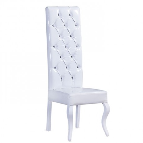 Beyaz Derili Kapitoneli Nikah Salonu Sandalyesi - nks10