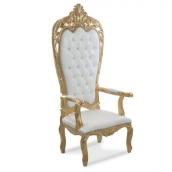 Gold Cnc Wooden Throne Wedding Chair