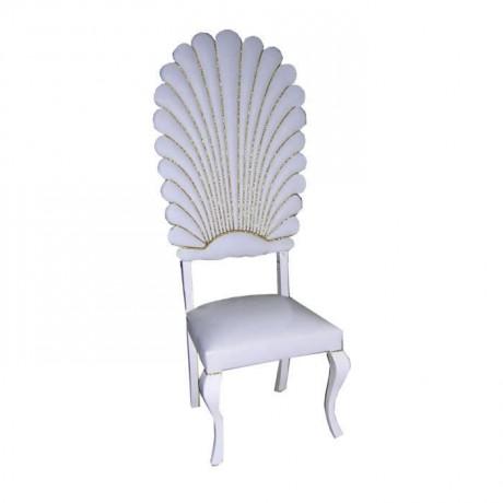 Yaprak Dilimli Beyaz Döşemeli Nikah Sandalyesi İmalatı - nks11
