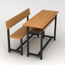 Metal Profile Classic Wood School Desk
