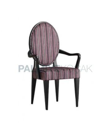 Oval Sırtlı Çizgili Kumaş Döşemeli Klasik Kollu Sandalye