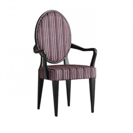 Oval Back Striped Fabric Classic Wooden Armchair - ksak105