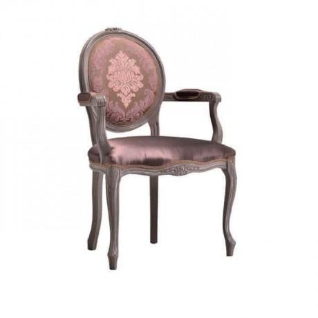 Oval Sırtlı Desenli Parlak Kumaşlı Lukens Klasik Kollu Sandalye - ksak100