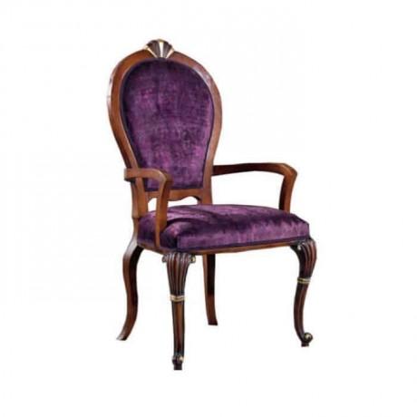 Oval Sırtlı Oymalı Mor Kumaşlı Klasik Kollu Sandalye - ksak124