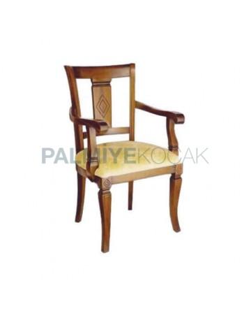Oymalı Ahşap Boyalı Klasik Kollu Sandalye