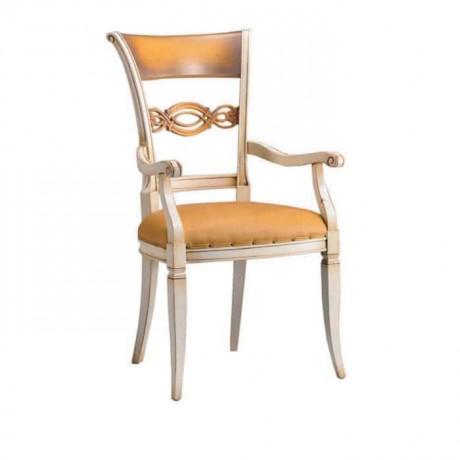 Oymalı Beyaz Lakeli Deri Döşemeli Klasik Kollu Sandalye - ksak98
