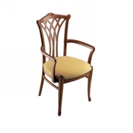 Oymalı Ceviz Boyalı Kollu Sandalye - ksak21