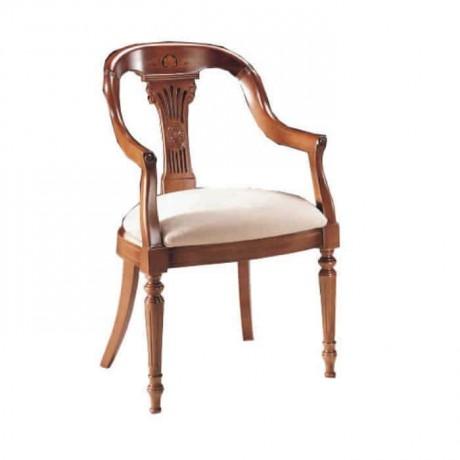 Oymalı Krem Kumaş Döşemeli Ahşap Boyalı Klasik Kollu Sandalye - ksak120