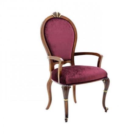 Oymalı Oval Sırtlı Kumaş Döşemeli Klasik Kollu Sandalye - ksak115