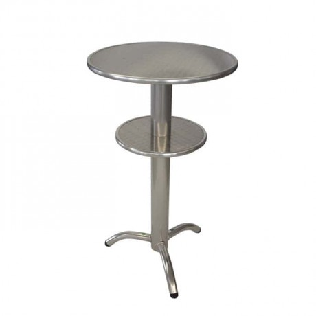 Aluminium Legs Stainless Double Table Top Bistro Kokteyl Table