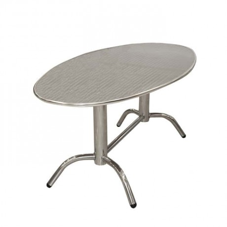 Oval Stainless Restaurant Garden Table - amb11