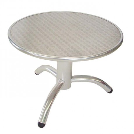 Round Stainless Brown Table - amh02