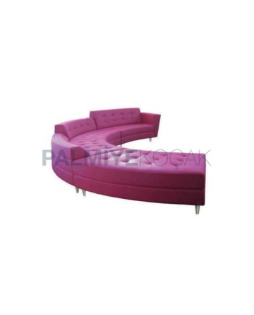Pink Leather Upholstered Waiting Couch