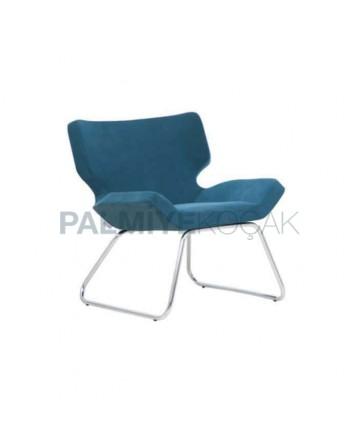 Petrol Green Upholstered Metal Leg Polyurethane Seat