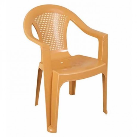 Light Brown Wire Backrest Plastic Armchair - plsk2557