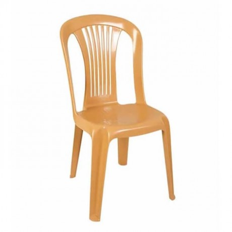 Light Brown Plastic Armless Chair - plsk2024