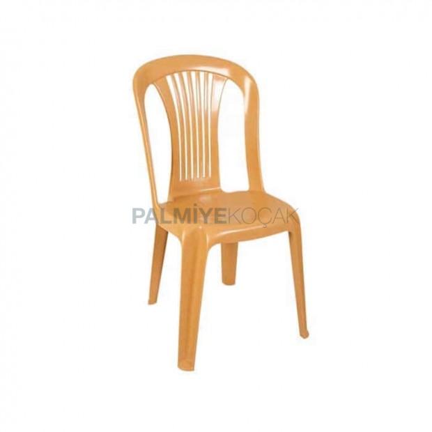 Light Brown Plastic Armless Chair