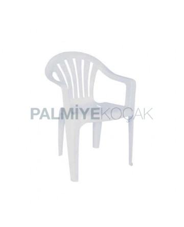 Beyaz  Kollu Yazlık Bahçe Restoran Cafe Plastik Sandalyesi