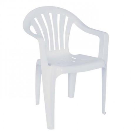 Beyaz  Kollu Yazlık Bahçe Restoran Cafe Plastik Sandalyesi - plsk3084