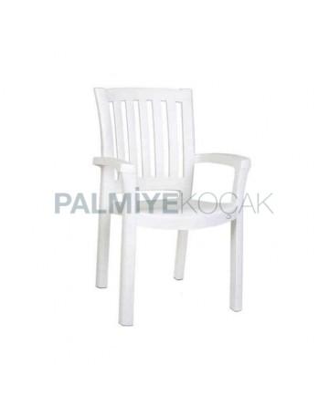 Beyaz Plastik Kollu Cafe Restoran Otel Bahçesi Sandalyesi