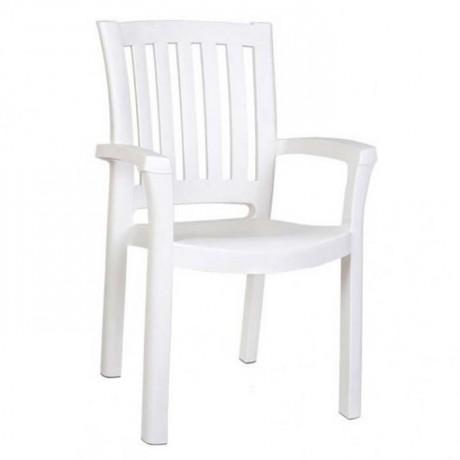 White Plastic Cafe Restaurant Hotel Garden Arm Chair - plsk3070