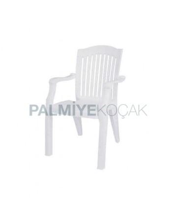 Beyaz Plastik Lüks Kollu Bahçe Sandalyesi
