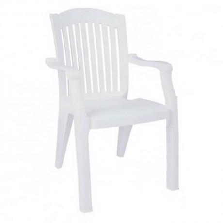 Beyaz Plastik Lüks Kollu Bahçe Sandalyesi - plsk3091