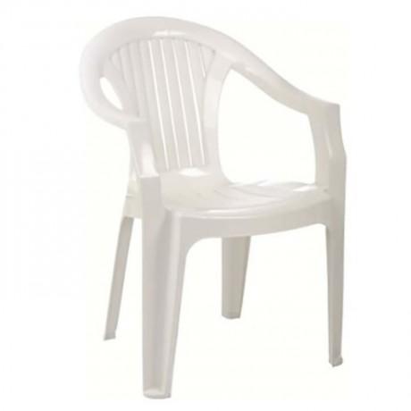 White Color Cafe Tea Garden Plastic Army Chair - plsk3082