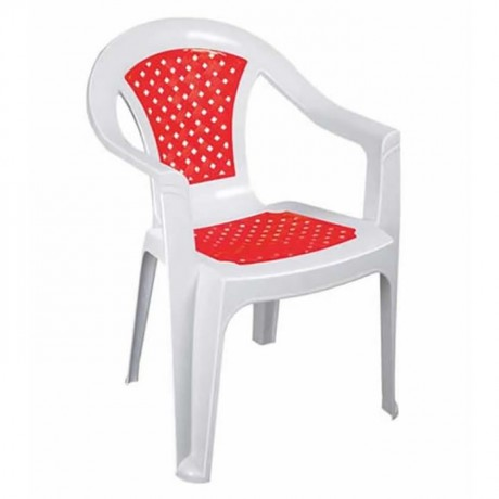 Plastic Chair with Red and White Colors - plsk2071