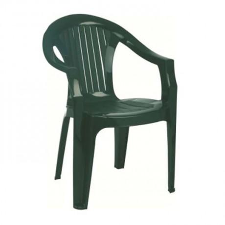 Koyu Yeşil Kollu Plastik Bahçe Sandalyesi - plsk3080