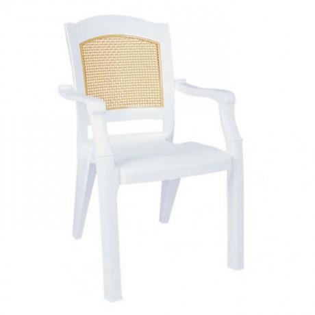 Sırtı Hasırlı Çift Renkli Lüks Kollu Plastik Sandalye - plsk3093