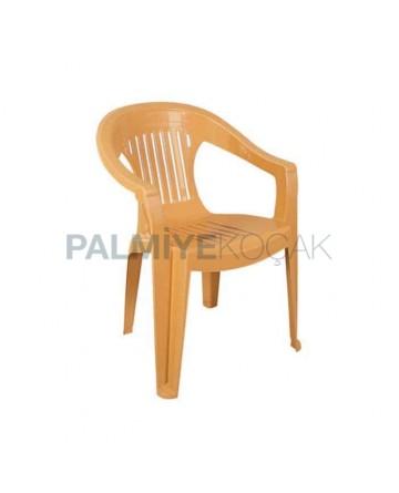 Teak Colored Plastic Arm Chair
