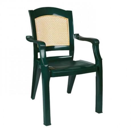 Yeşil Bej Renkli Kollu Lüks Sandalye - plsk3094