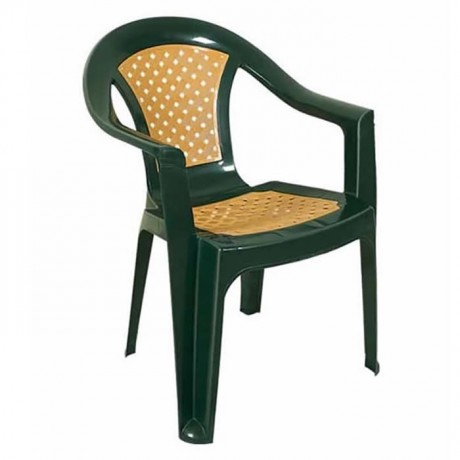 Green Brown Plastic Arm Chair - pls205073