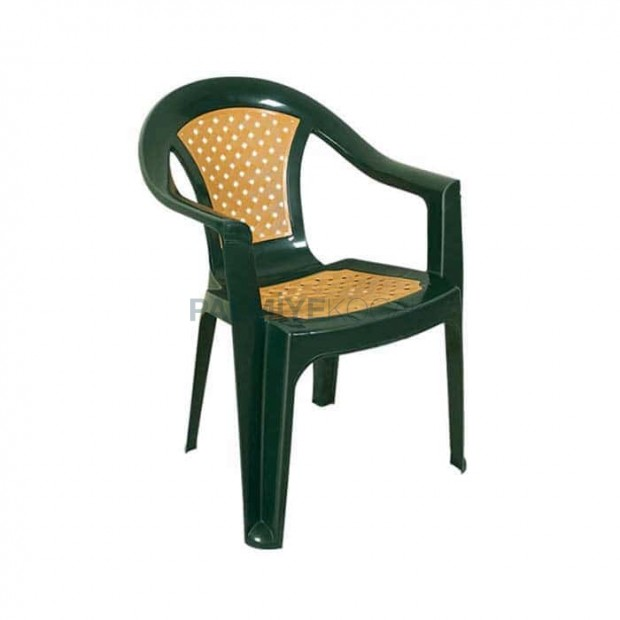Green Brown Plastic Arm Chair