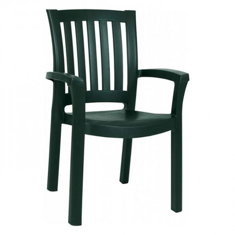 Green Plastic Cafe Restaurant Tea Garden Arm Chair - plsk3071