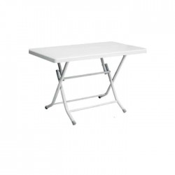 Plastic Table with White Folding Legs