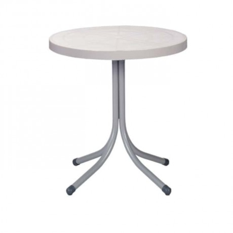 White Table Top Plastic Round Table - pl10