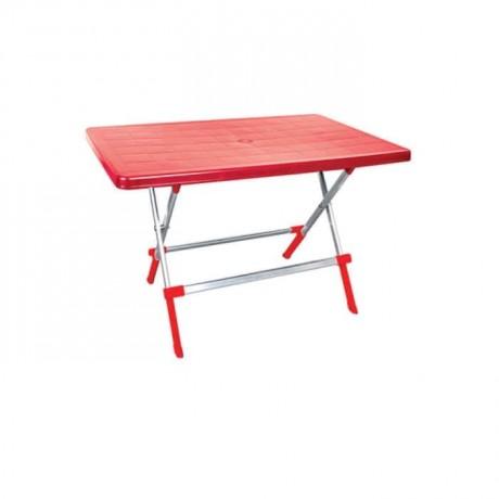 Dikdörtgen Kırmızı Renkli Plastik Masa - pl6572