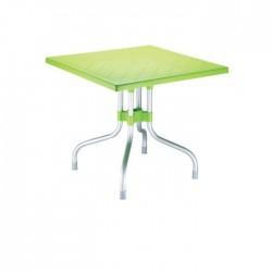 Peanut Green Aluminum Leg Square Plastic Table
