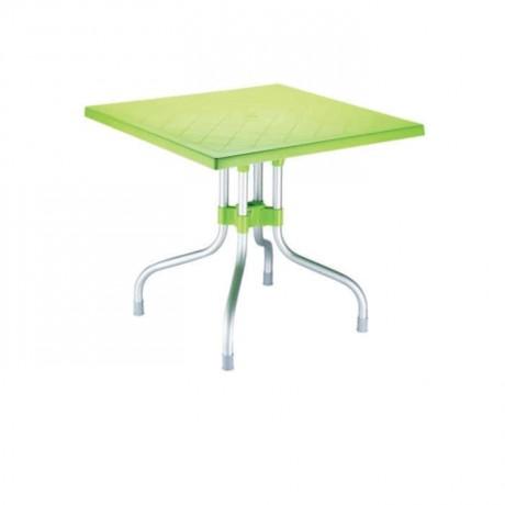 Peanut Green Aluminum Leg Square Plastic Table - pl635
