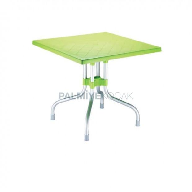 Fıstık Yeşil Alüminyum Ayaklı Kare Plastik Masa