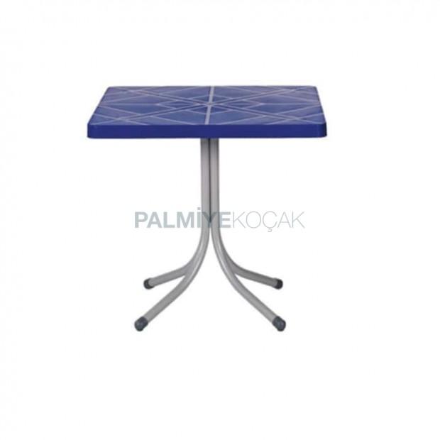 Square Blue Plastic Cafe Table