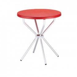 Plastic Table with Red Table Top Aluminum Legs