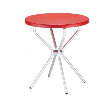 Kırmızı Tablalı Alüminyum Ayaklı Plastik Masa - pl15