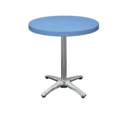 Blue Plastic Stainless Steel Leg Cafe Table